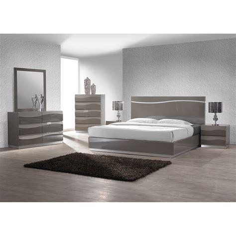 delhi platform bed high gloss gray dcg stores