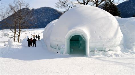 igloo house ice cafe lake shikaribetsu igloo village tokachi hokkai