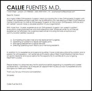 orthopaedic surgeon cover letter sample livecareer