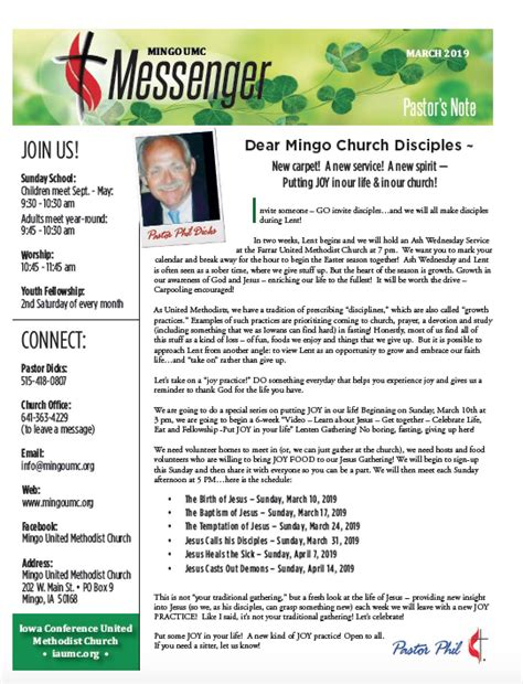 march newsletter  mingo united methodist church