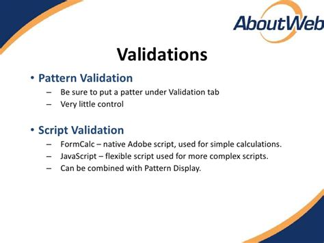 validation pattern livecycle livecycle scripting validations