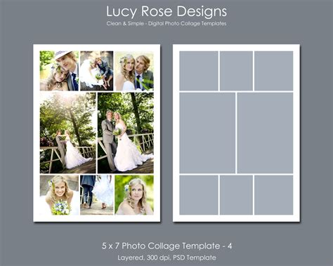 5 photo collage template 5 x 7 photo collage template 4