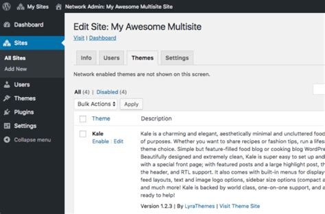 theme editor wordpress multisite how to set up wordpress multisite network pagely 174