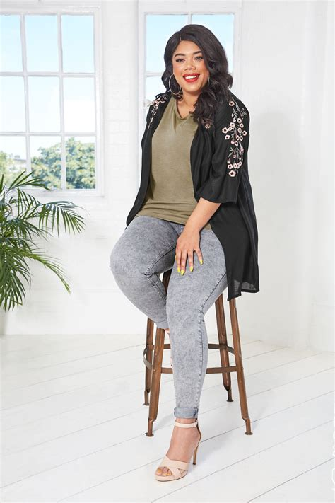 Napoclean Strong By Nry Fashion black textured floral embroidered kimono plus size 16 to 36