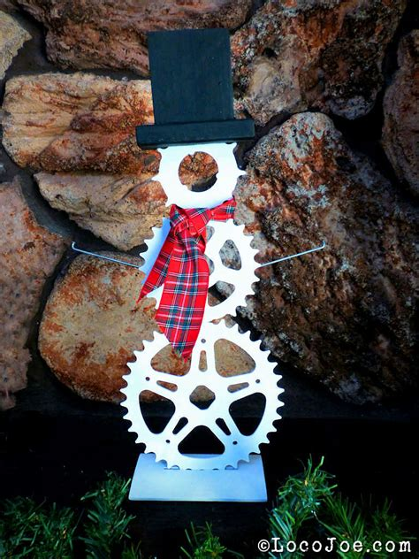 christmas decorations out of bike chains sprocket spoke snowman chain randy s bicycle scrapbook