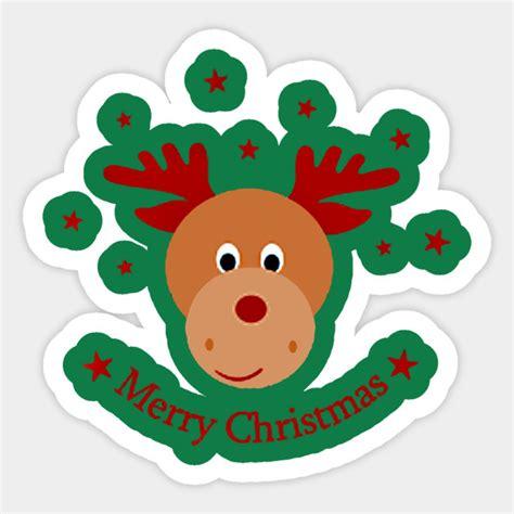 cute cartoon merry christmas cute christmas gift sticker teepublic uk