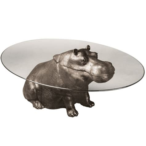 Hippo Coffee Table with Bespoke Bronze Sculpture Stoddart Cheeky Hippo Coffee Table