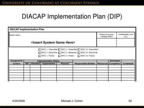 diacap implementation plan template ppt practical diacap implementation powerpoint