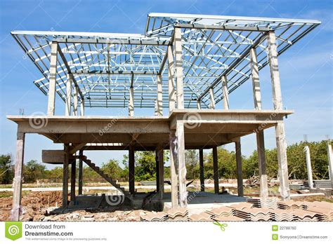 building new home new home construction with steel roof structure stock