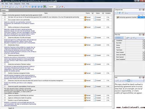 Partnership Agreement Checklist To Do List Organizer Checklist Pim Time And Task Partnership Agreement Checklist Template