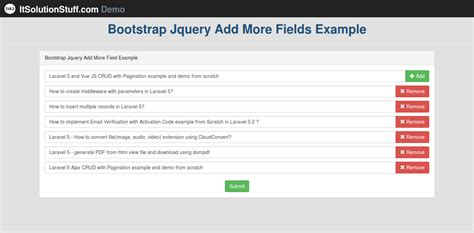 bootstrap tutorial with jquery simple add remove input fields dynamically using jquery