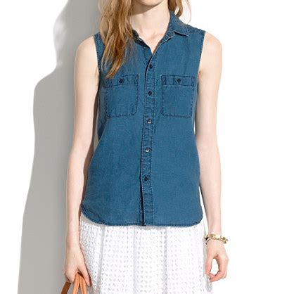 Dm Dress Soft Overall 204 chambray workbench top in blue chambray denim
