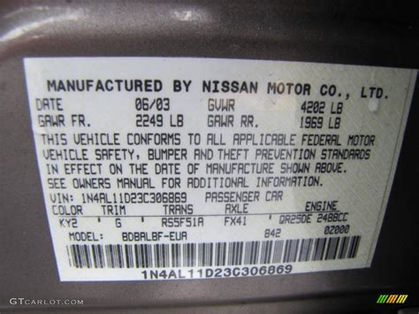 2003 nissan altima 2 5 s color code photos gtcarlot