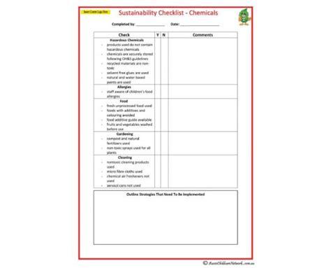 Sustainability Checklist Chemicals Aussie Childcare Network Sustainability Plan Template