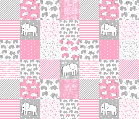 Hijacket Original Hj12 Basic Grey Baby Pink elephant quilt pink and grey elephants fabric pink and