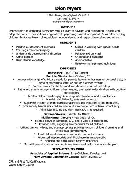 Babysitting Description by Description Free Resume Templates