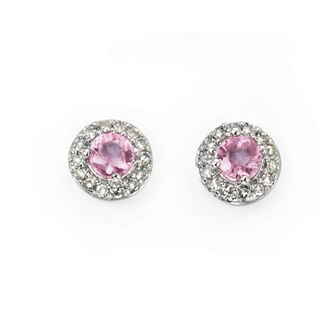 100 Pink Sapphire 1 32 Ct 9ct white gold pink sapphire and earrings from