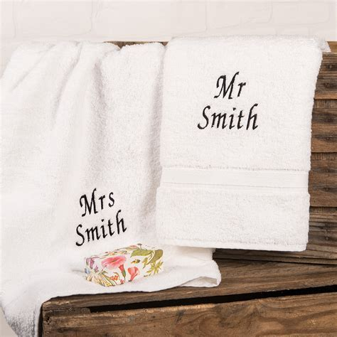 Personalised His and Hers Hand Towels   Embroidered Gifts
