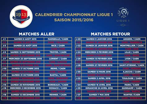 Calendrier Psg 2016 Ligue 1 Horaire Match Ligue 1