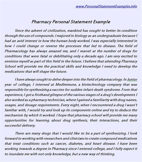 Pharmacy Essay Exles by Useful Pharmacy Personal Statement Exle Http Www Personalstatementsle Net Pharmacy