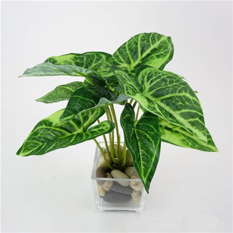 mini potted plants artificial plants plastic fake flower leaves home