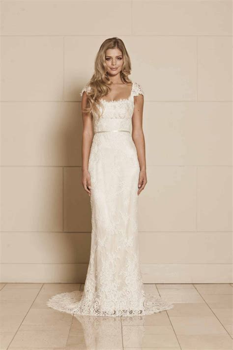 wedding dresses with sleeves long lace cap sleeve bhldn ivory cap sleeve sheath lace long wedding dress open back