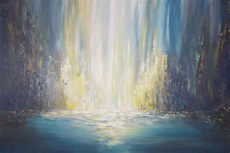 whispering falls abstract waterfall painting liz  fine art