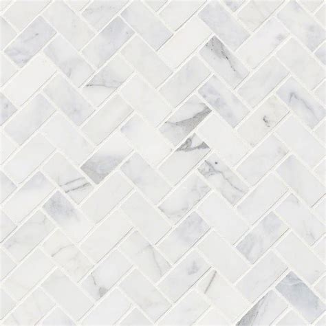 White Kitchen Cart Island Msi Calacatta Cressa Herringbone Honed Marble Mosaic Tile