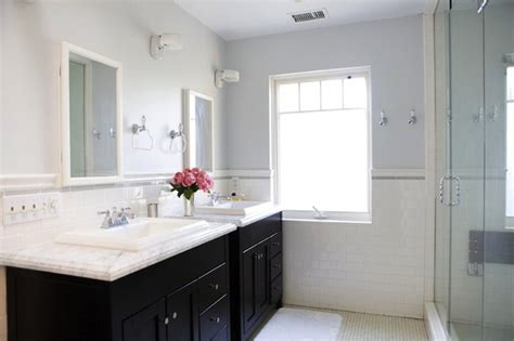 lovely bathroom with lilac blue walls paint color subway tiles backsplash black stained