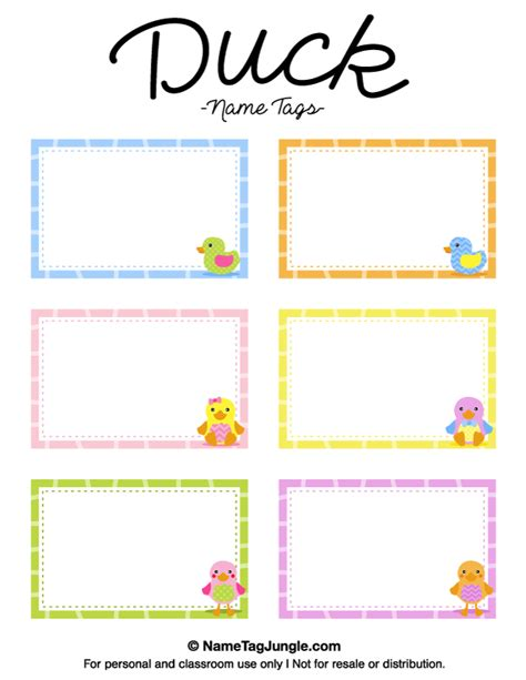 Boston Ducks Card Template by Free Printable Duck Name Tags The Template Can Also Be