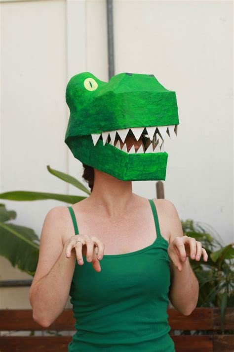 How To Make A Paper Mache Dinosaur - paper mache dinosaur mask diy how to