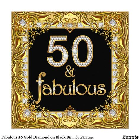 Be Fabulous 50 fabulous 50 gold on black birthday card
