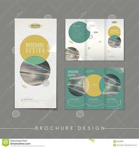 modern abstract tri fold brochure template design stock