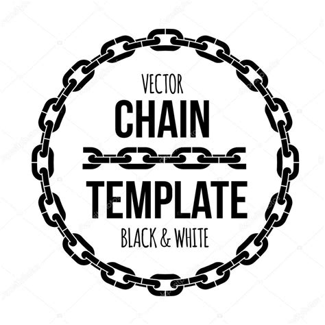 emblem black and white ring shape chain emblem black and white vector