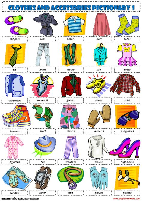 clothing vocabulary clothes pictionary 1 poster vocabulary worksheet