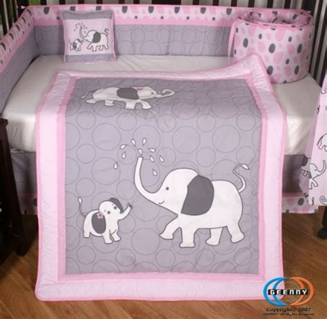 pink and gray elephant 13 crib bedding set