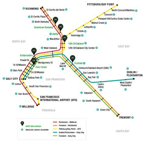 san francisco map showing bart stations bartbikestation bike hub