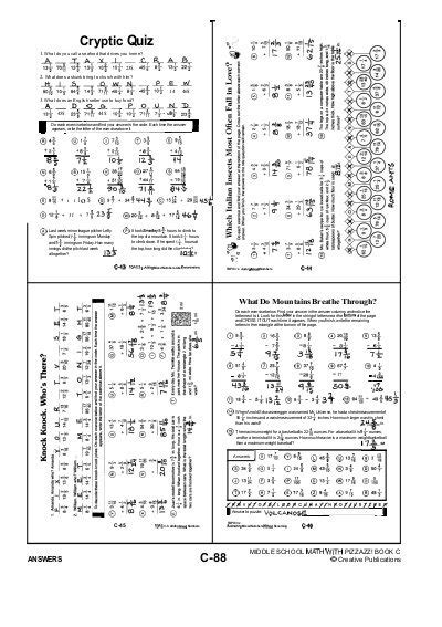 7 cryptic quiz math worksheet american math