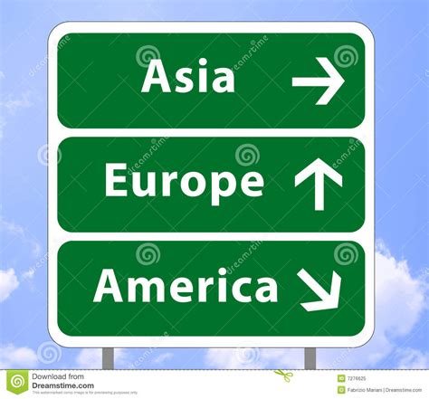 signs of an road sign of continents royalty free stock photo image 7276625