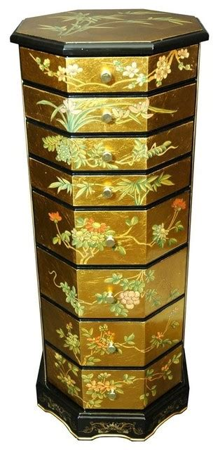 asian jewelry armoire octagonal button box gold leaf jewelry armoire asian jewelry armoires by shopladder