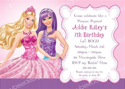 printable invitations barbie barbie princess popstar birthday party invitations