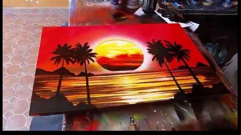 spray painting set sunset spray