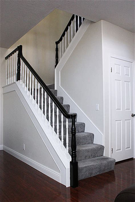 White Banister Rail by Black Rail Stairs Banisters