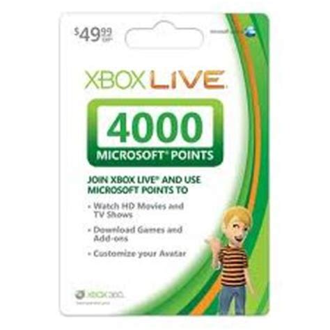 Microsoft Points Gift Cards - free 4000 microsoft points 50 xbox live gift card for online xbox 360 code low gin