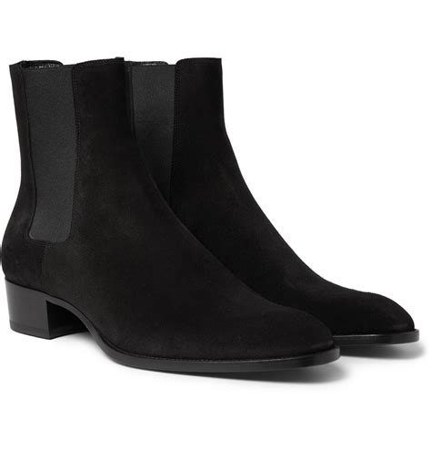 laurent mens chelsea boots lyst laurent suede chelsea boots in black for