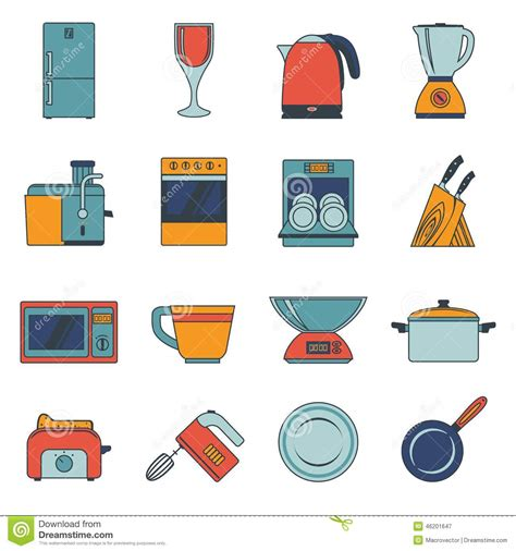 vintage home appliances icons stock vector illustration kitchen appliances icons flat stock vector image 46201647