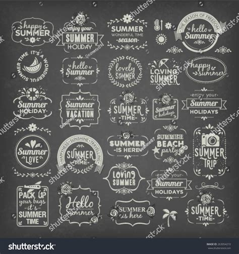 design elements words collection summer calligraphic typographic vintage design