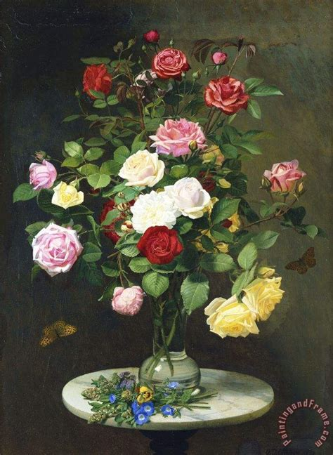 Roses In Glass Vase by Otto Didrik Ottesen A Bouquet Of Roses In A Glass Vase By