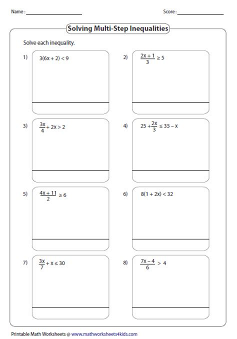 Solving Multi Step Inequalities Worksheet multi step inequalities worksheets