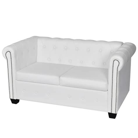 white leather 2 seater sofa artificial leather chesterfield 2 seater sofa white